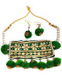 Jaipri Green Pom Pom And Golden Colour Gotta With Pearl Handmade Jewellery Set With Earrings For Women & Girls...