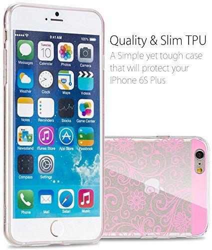 """Fosmon DURA-FLORA Flower Pattern TPU Case Cover hülle für Apple iPhone 6 Plus / 6s Plus (5.5"""") - / Weiß hellrosa"""