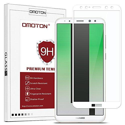 OMOTON Panzerglas Schutzfolie für Huawei Mate 10 lite, volle Bedeckung, Anti- Kratzer, Bläschenfrei, 9H Härte, HD-Klar, [3D Runde Kante] (5,9 Zoll)-Weiß (Nur Handy Sprechen, Touch-screen)