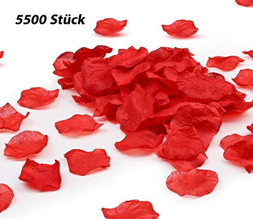ALIENGT 5500 Stück Rosenblätter rot Rosenblüten Künstlich Deko Blütenblätter Hochzeit Kunstrosenblätter Gechenk für Romantische Atmosphäre Valentinstag und Party Dekoration