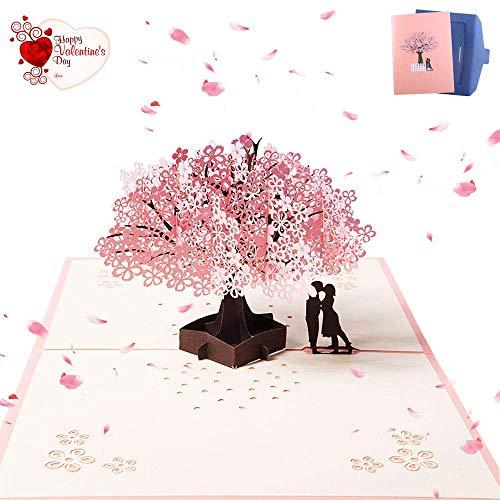 Zarrs biglietto 3d,pop up d'auguri carta per matrimonio anniversario san valentino di compleanno natale romantico sakura 20 * 15cm