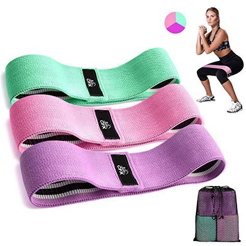 Cfx elastici fitness, set di 3 elastico fitness fasce di resistenza larghe e in tessutopiù resistente e lunga durata - per fitness yoga, pilates, physiotherapy - una custodia per il trasporto inclusa