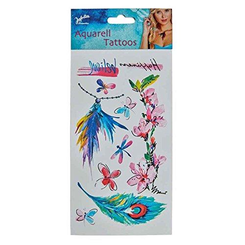 Tatuajes de acuarela Tatuaje temporal mariposas Calcomanías falsas hippies Pegatinas indígenas Adhesivos temporales piel Maquillaje carnaval