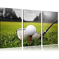 Golf tee 3 pezzi un'immagine in bianco / bianco immagine tela 120x80 su tela, XXL enormi immagini completamente Pagina con la barella, stampe d'arte sul murale cornice gänstiger come la pittura o un dipinto ad olio, non un manifesto o un banner, - Golf Ball Dimensioni
