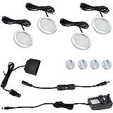 Aiboo LED iluminación bajo armario Kit 4paquetes Slim aluminio Puck lámparas con interruptor 12VDC 8W todos los accesorios incluidos