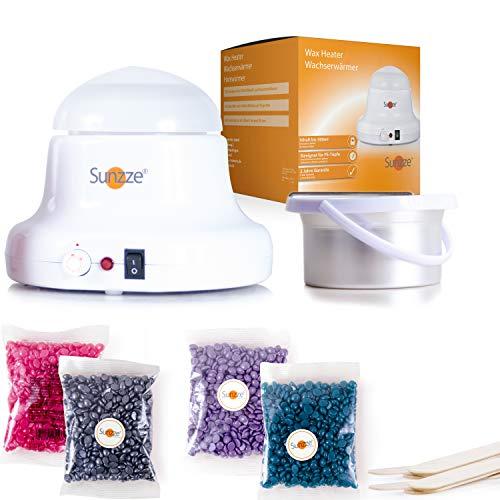 SUNZZE Brazilian Waxing Kit für Ihre haarfreie Haut | mit Wachswärmer, Einsatz, 4x100g Heißwachs-Perlen und Holzspatel | Haarentfernung für Beginner oder Könner -