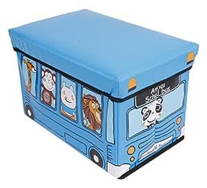 Premsons® Children Printed Rectangular Folding Seat Toy Storage Box (12x19) Blue
