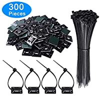 "AUSTOR 100 Pack Adhesive Cable Tie Mounts Black Zip Tie Mounting Base(1.1"" x 1.1"") with 200 Pack Black Nylon Cable Ties(Length 200 mm, Width 3 mm)"