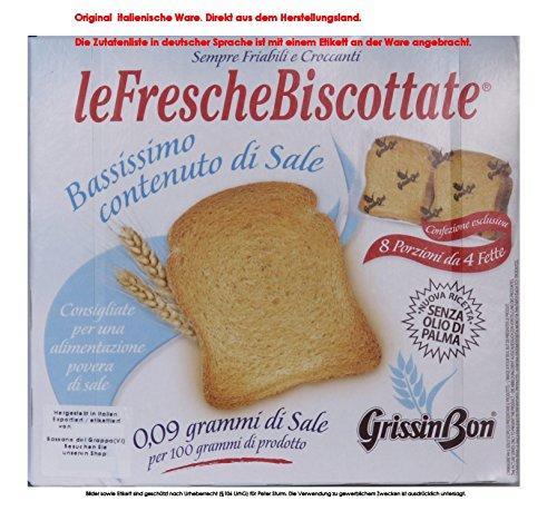 GrissinBon le Fresche Biscottate Bassissimo contenuto di Sale 5x 250g = 1250g Unterverpackt 8 Portionen mit 4 Scheiben. Zwieback aus Weizenmehl Kochsalzarm. Ohne Palmöl. Test