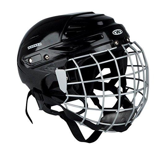 WORKER Casco de Hockey Sobre Hielo kayro Negro con Rejilla de protección de la Cara