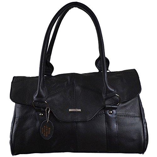ladies-leather-shoulder-bag-handbag-with-folder-over-flap-and-magentic-clasp-black-