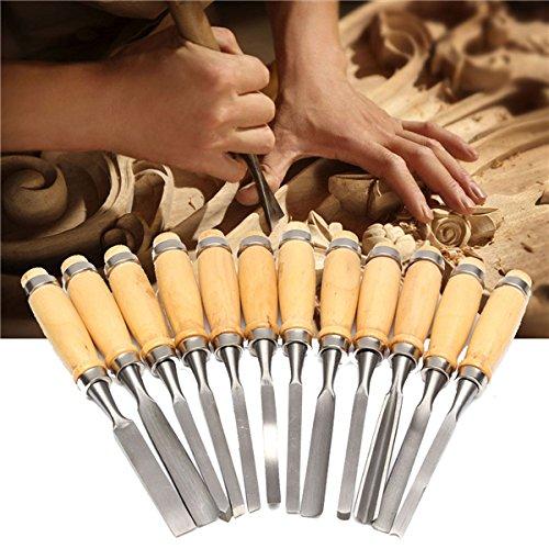 Preisvergleich Produktbild GOZAR 12 Stücke Holzbearbeitung Holzschnitzerei Hand Meißel Professionelle Gouges Tool Set