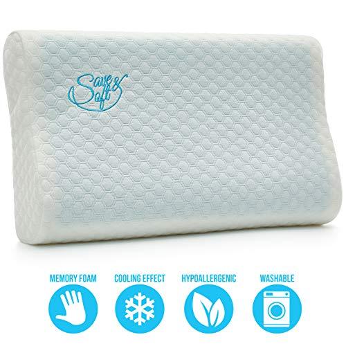 Komfort-gel-nasen-kissen (Save&Soft Gel-Memory-Schaum-Kissen - wendbares orthopädisches Schlafkissen Nackenschmerzen - Chiropraktisches Kühlkissen für Männer und Frauen)