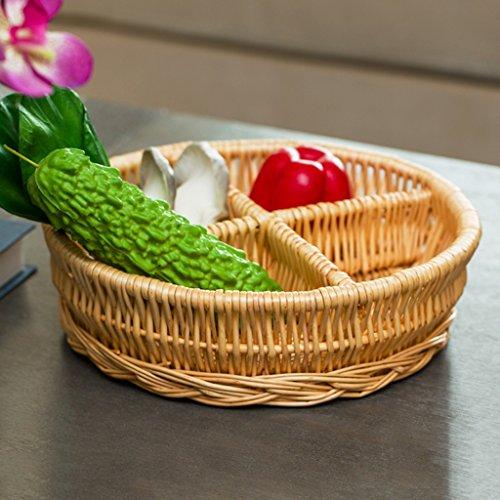 BBYE Plateau De Fruits De Rotin / Boîte De Finition De Snack / Nourriture De Bureau Panier De Stockage De Pain / Boîte De Rangement De Cuisine