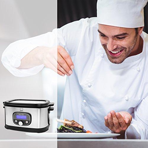 Sänger Premium Sous Vide Garer 520 Watt 6 Liter | Niedrigtemperatur-Garer bis zu 72 Stunden Garzeit einstellbar | Gebürstetes Edelstahlgehäuse | Temperaturbereich zwischen 40 - 90 °C - 6