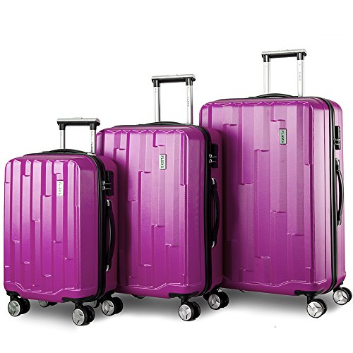 Zwillingsrollen Hartschalen Kofferset Reisekoffer 3 teilig Koffer Trolleyset mit Zahlenschloss, Flieks 3tlg. Gepäck-Sets mit 4 Doppel-Rollen, Set-XL-L-M(Lila) (Set Koffer Gepäck Rollen)