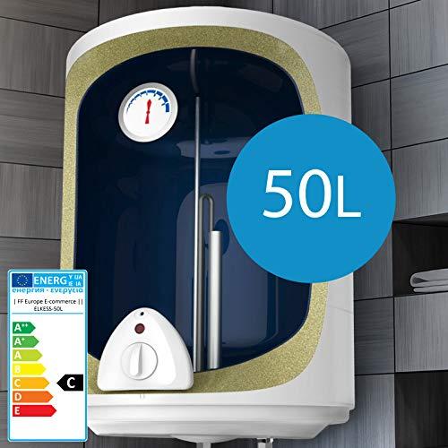 Elektro Warmwasserspeicher I Größenwahl 30,50,80,100 Liter Speicher, 1500W Heizleistung und Thermometer I Boiler, Wasserboiler, Warmwasserboiler (50L) (50 Liter-tank)