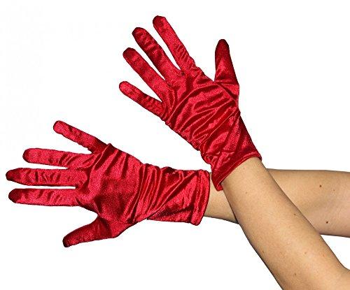 Foxxeo 35331 | kurze glänzende rote Handschuhe 20er Jahre Damen Fasching Kostüm