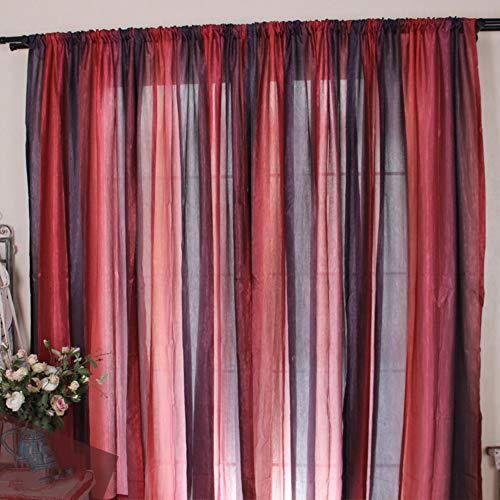 CurDecor Europäische Moderne Stripe Vorhang,halb Schiere Aus Stoff Tüll Vorhänge Stab-Tasche Fenster Drapes Lightweight Volant 1pc Panel-rot 130x210cm(51x83inch) (Rote Damast-volant)