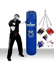 TurnerMAX Schwerer Boxsack, aus Leder, gefüllt mit Boxhandschuhe und Kette Schwarz
