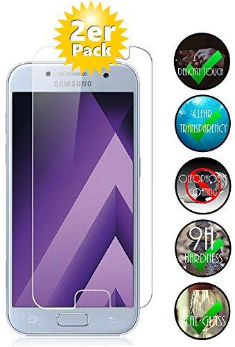 Smartphone-Equipment [2 Stck.] Panzerglas für Samsung Galaxy A5 2017 gehärtetes Glas 9H, Echtglas Glasfolie Folie Panzerglasfolie Panzerfolie Schutzfolie