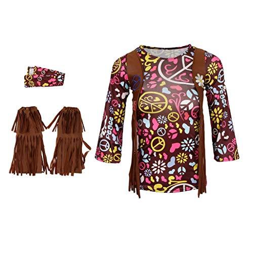 Tubayia Kinder Mädchen Böhmisches Hippie Kostüm Outfit Troddelweste Stirnband Fransenstiefel für Halloween Karneval Kind Disco Dolly