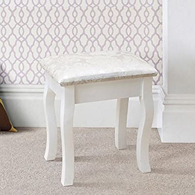 Schindora White Dressing Table Stool with Cusion Padded Chair - low-cost UK light shop.