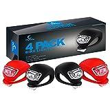 Dorlle Fahrradlicht LED Set Silikon Leuchte Fahrradlampe,4 Pack Fahrradbeleuchtung (2 Frontlichter & 2 Rücklichter), Kinderwagen-Beleuchtung Wasserdichte Roller-Blinklicht,Kostenlos 4 Ersatzbatterien