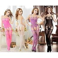 HYW Hot Europa Y Los Estados Unidos Sexy Cuatro Lados de la Pantyhose Hueco Jacquard Siamés Ropa Ropa Interior Mujer,Blanco,Todo el código