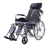 HAMIMI Sedia a rotelle Portatile per Il Trasporto Pieghevole Sedia da Viaggio Portatile Anziani disabili Passeggino Scooter vasino Multi-Funzione reclinabile Completo Mobility Wheelchai
