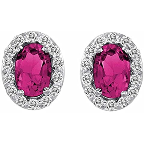Ryan Jonathan tormalina rosa e diamante Orecchini in oro bianco 14K