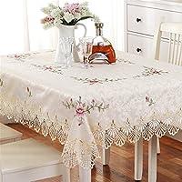 TaiXiuHome Bordado de encaje estilo europeo redondo / cuadrado / rectángulo Mantel de tela mantel de punto Cruz de punto de comedor / boda / cafetería 150x220cm (59x86pulgada)