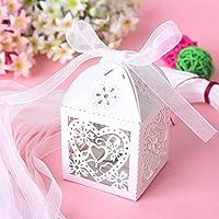 G & K 50pc cuore taglio laser Candy scatole regalo con nastro matrimonio festa Bianco