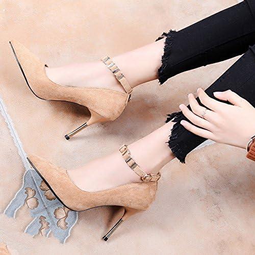 KHGJHJ Stilettos con hebilla salvaje hebilla de tacones altos con zapatos de boca baja puntiagudos,marrón,34