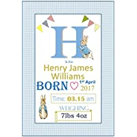 Peter Rabbit Baby Personalised New Baby Boy or Girl Print Perfect Christening Baptism Gift -A4 Unframed