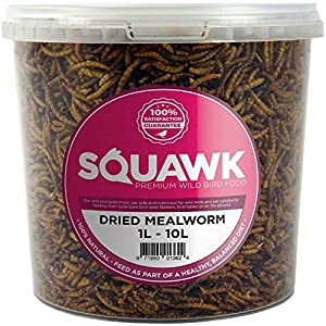 SQUAWK Dried Mealworms | Premium Garden Wild Bird Food Mix Balanced Formula | Protein-Rich, Great Source of Energy | Contains Beneficial Mixed Vitamins | Large Variety