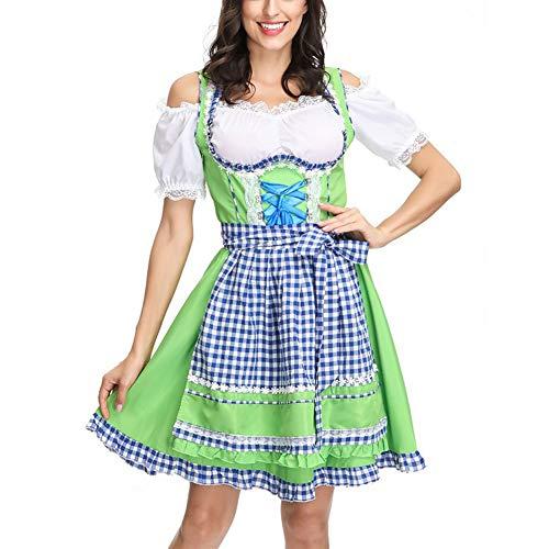 YCLOTH Dienstmädchen-Kostüm, für Damen, hübsches französisches Dienstmädchen, Halloween-Kostüm, Kellner-Kostüm, Karomuster, Halloween-Kostüm, Material, grün, M - Französisch Kellner Kostüm