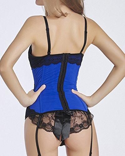 HLGO Damen Sexy Bowknot Plus Size Baskisch und Strapsgürtel Korsett Satin Spitze Mesh mit G-String Schwarz oder Violett oder Blau, 5 Größen Auswahl Blau