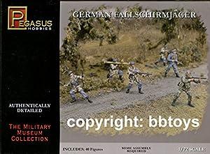 Pegasus pg7224-1/72II Guerra Mundial - Juego de Figuras de plástico de paracaidistas alemanes
