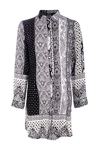 Weiß Damen Astley Hemdkleid Mit Schwarz-weißem Paisley-print Weiß