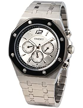 Time100 Klassische Uhrmeister-Serie Hochwertige Multifunktion-Edelstahl-Herren-Armbanduhr mit Butterfly-Faltschließe...