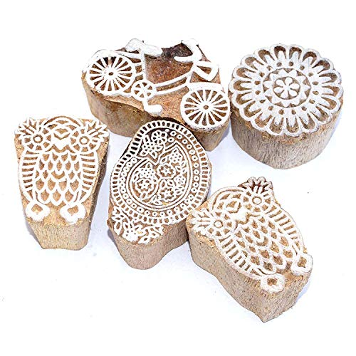 Indian Handicrafts Export Set of 10 Design Wooden Printing Stamp Block Hand-Carved for Saree Border Making Pottery Crafts Mehandi Printing (A) Design Saree