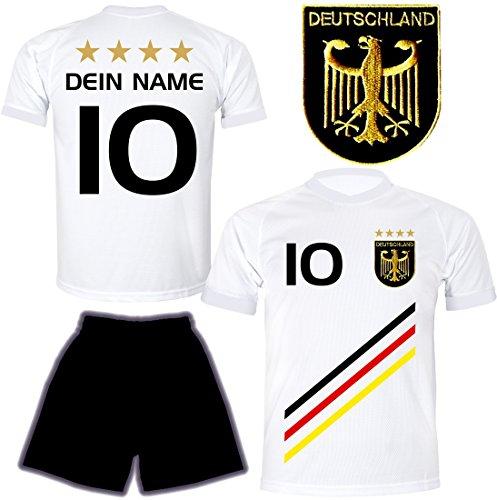 Preisvergleich Produktbild ElevenSports Deutschland Trikot + Hose mit Gratis Wunschname + Nummer + Wappen Typ D 2018 im EM / WM Weiss - Geschenke für Kinder, Jungen, Baby. Fußball T-Shirt Personalisiert als Weihnachtsgeschenk