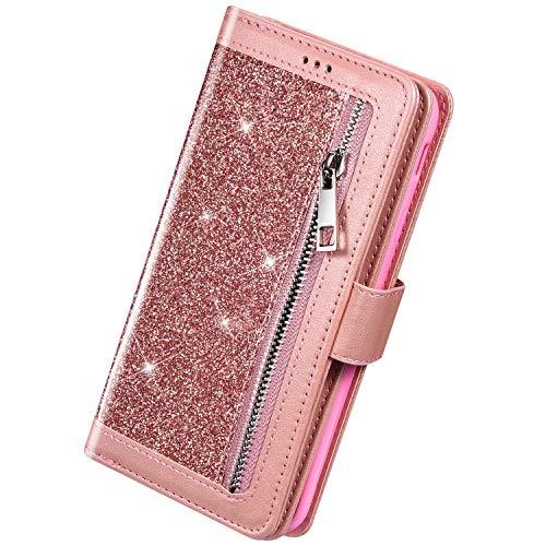 Herbests Kompatibel mit Samsung Galaxy Note 10 Plus Handyhülle Handytasche mit 9 Kartenfächer Handschlaufe Leder Hülle Reißverschluss Magnet Luxus Bling Glänzend Multifunktions Flip Case,Rose Gold