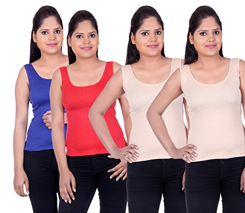 LIENZ Women Camisole Tank Top Blue, Red and Skin Color - Pack of 4