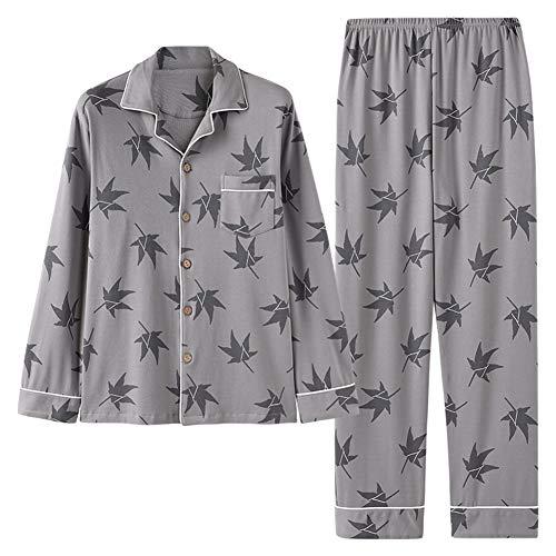 ZTING Männerschlafanzug, Winter 100{954f96ef939b9e32a37485c27ae6e69db272e485e542e9b751a98e1ebe19d35e} Baumwolle Männer-Pyjamas Langarm-Turn-down-Kragen-Plus Size Nachtwäsche Print Schlaf Lounge Homewear grau,XL
