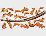 Wandtattoo Einhörnchen, halt dich fest! Sticker Set Kinder Zimmer Waldtiere