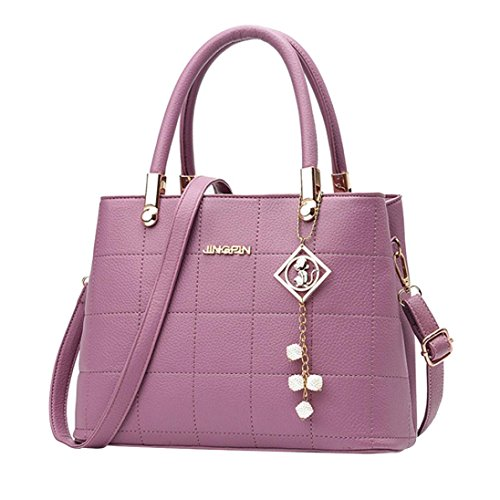Manadlian Frau Tote Beiläufig Taschen Umhängetasche Leder Plaid Handtasche Schultertasche Mit Reißverschluss (Lila) (Plaid Handtasche)