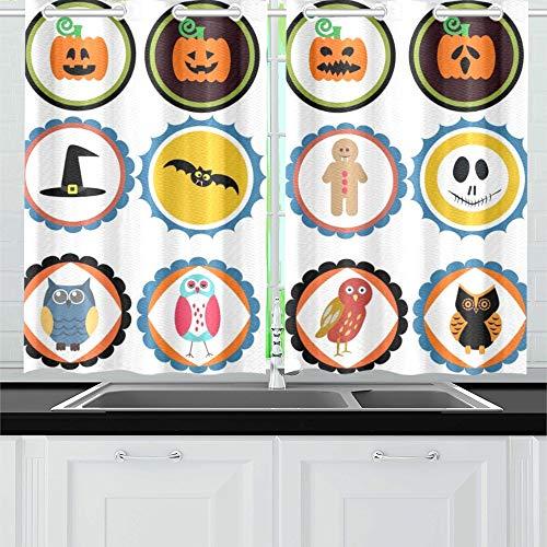 JIUCHUAN Halloween Abzeichen Küchenvorhänge Fenster Vorhangebenen für Café, Bad, Wäscherei, Wohnzimmer Schlafzimmer 26 X 39 Zoll 2 Stück