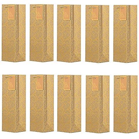 DonDon - Lot de 10 pochettes cadeaux sacs de bouteilles or pour vin et champagne 36x12x10 cm